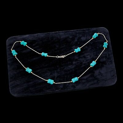 """Antique Vintage Art Deco Style 14k Bi Gold Chinese Turquoise Beaded 17"""" Necklace"""
