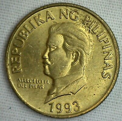 1993 Philippines 50 Sentimos UNCIRCULATED Brass Coin Design Monkey Eating Eagle