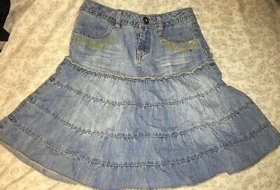 Girls Sz 8 MUDD Adjustable Waist Denim Skirt
