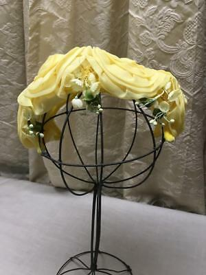Vintage Ladies Half Hat 4 Yellow Flowers & White Bell Flowers  Spring Summer Hat