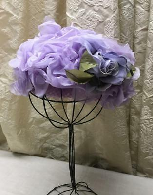 Vintage Ladies Lavender Purple Hat  Millinery Flowers Spring Summer Hat