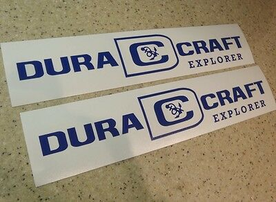 "DuraCraft Explorer Vintage Boat Decals 12"" Die-Cut FREE SHIP + FREE Fish Decal!"