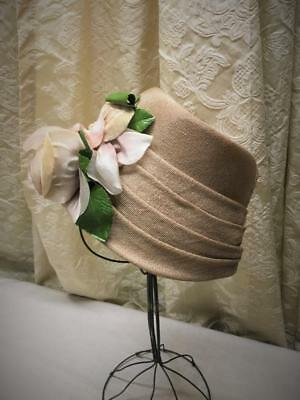 Vintage Ladies Beige Hat With Lg Flower In Front  Spring Summer Hat