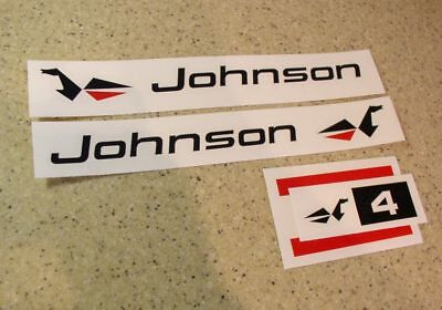 Johnson Vintage Outboard Motor Decals Die-Cut FREE SHIP + Free Fish Decal!