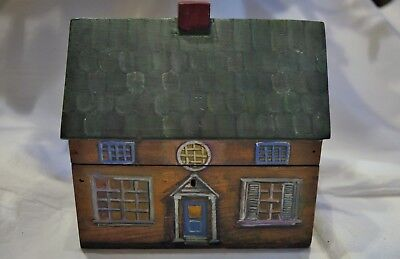 Painted Wood Antique Tea Caddy in form of Country House Beautiful Painted Detail