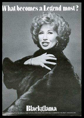 1975 Beverly Sills photo Blackglama vintage print ad