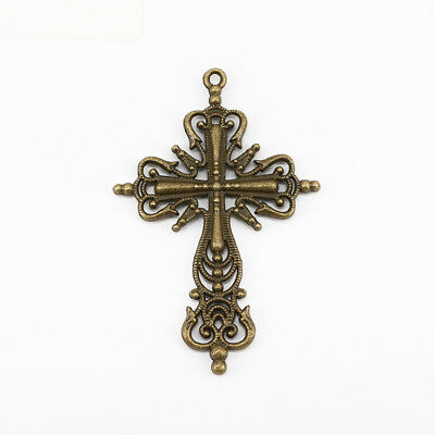 2Pcs DIY New Alloy Ancient Bronze Cross Charm Jewelry Accessories Pendant