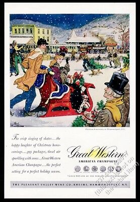 1947 Hammondsport New York train station sleigh Xmas Great Western Champagne ad