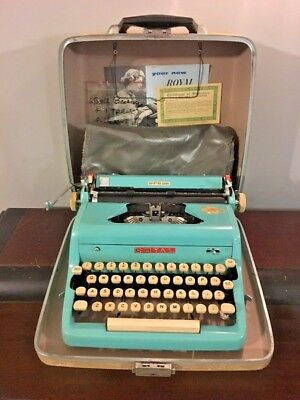 Royal Quiet De Luxe Circa 1957 Turquoise Teal Blue Manual Typewriter AS IS