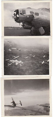 3 Early World War 2 B-17 Airplane Action Original passed by Censor Photographs