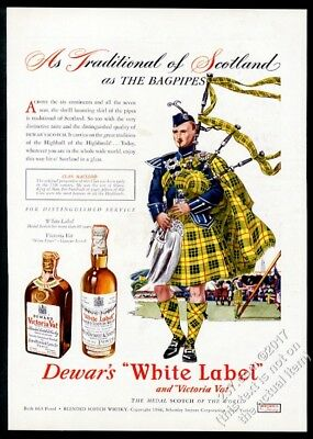 1947 Clan Macleod tartan bagpipes piper Highland Games Dewar's Scotch Whisky ad