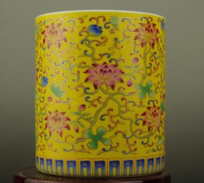 Old china  hand-made famille rose porcelain Hand painted flower brush pot b02