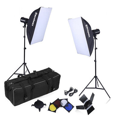 160W *2 Photography Flash Lighting Kit Strobe Studio Adjustable Height Stand