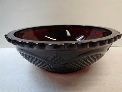 AVON Cape Cod Ruby Red Glass Centennial Edition 8.75 inch Round Serving Bowl
