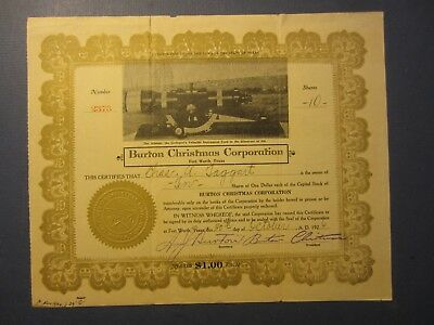 1926 BURTON CHRISTMAS CORP. Stock Certificate - OIL Discovery FORT WORTH TEXAS