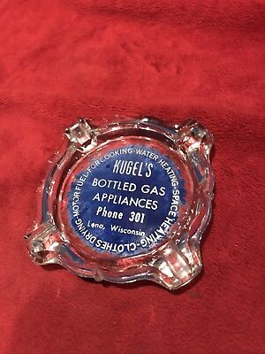 Vintage Glass Advertising Ashtray, Kugel's Gas Appliances in Lena, WI.