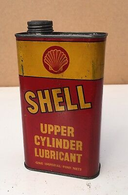 Vintage Shell Oil Upper Cylinder Lubricant 1 Pint Tin