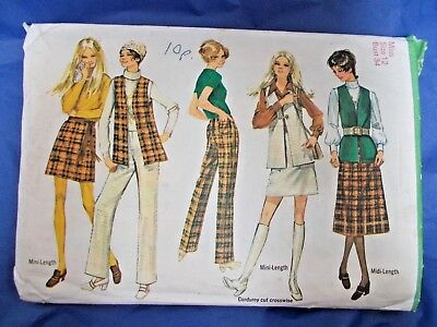 7fb2a6f8a Vintage Simplicity 8955 sewing pattern 1970s mini skirt waistcoat pants bust  34