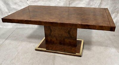 Mid Century Modern Milo Baughman Style Burl Wood Dining Table 1 Leaf / Pls Read