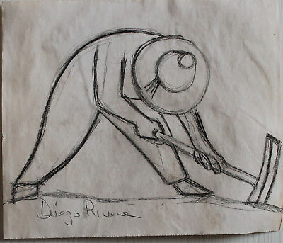 Pencil drawing signed DIEGO RIVERA
