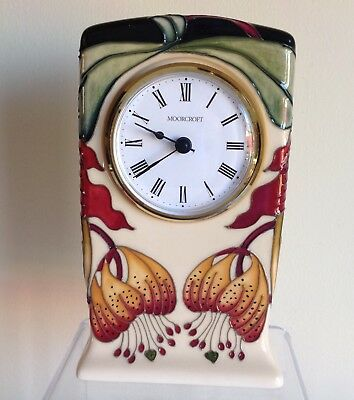 "Moorcroft Pottery Tube Lined Stunning ""Anna Lily"" Pattern Clock Mint Working"