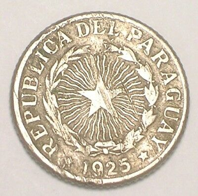 1925 Paraguay Paraguan One 1 Peso Radiant Star Coin Scratches