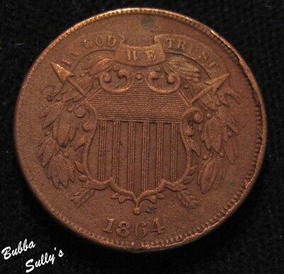1864 Two Cent Piece <> XF Details