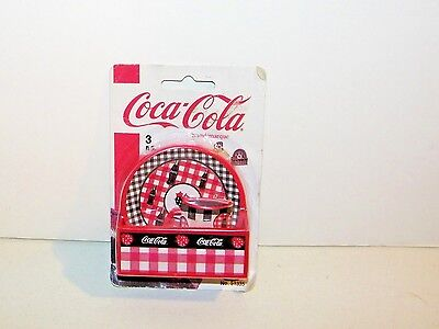 Coca Cola Coke 3Pc. Refrigerator 3D Magnet Set Country Basket, Plate & Cup NEW