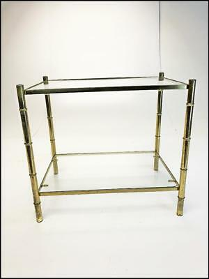 Vintage Faux Bamboo Side Table hollywood regency plant stand metal mid century