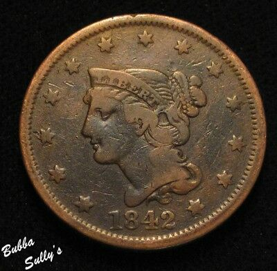 1842 Braided Hair Large Cent <> Large Date <> FINE