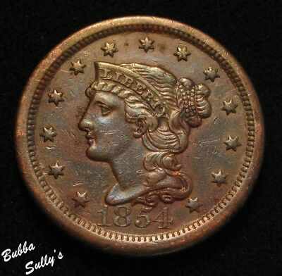 1854 Braided Hair Large Cent <> F to VF Details