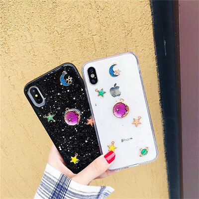 Women Girl Cute Bling Star Clear Case Soft Rubber Cover For iPhone X 8 7 6s Plus