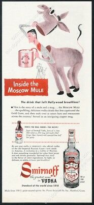 1950 Moscow Mule drink recipe and art Smirnoff Vodka vintage print ad 1