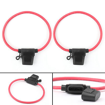 2Pcs Medium Blade Fuse Holder ATC ATO Waterproof 10AWG In-Line Wire For Car
