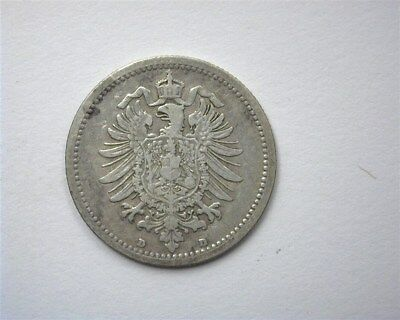 Germany 1875-D Silver 50 Pfennig  Extremely Fine
