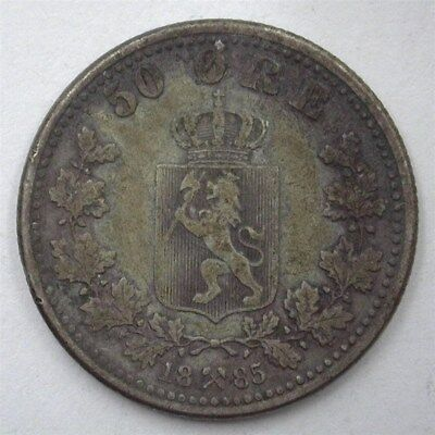 Norway 1885 Silver 50 Ore  Nearly Extremely Fine