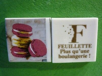 Feve Plate Perso Boulangerie Feuillette Limoges  Les Macarons  Recto/verso