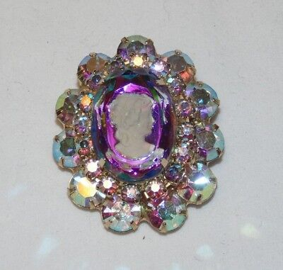 Beautiful Vintage Reverse Intaglio Cameo Brooch Watermelon Stone AB Glass Beads