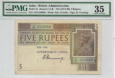 "India / British Administration - 5 Rupees, nd (1917-30). PMG 35. ending ""888"""