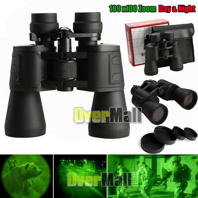 Outdoor 180x100 Zoom Telescope Day & Night Vision Travel Binoculars Hunt + Case