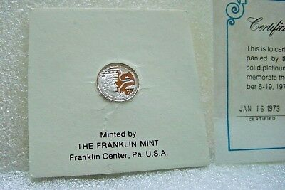 1973 The Apollo 17 Eyewitness Platinum Mini Coin Made By The Franklin Mint