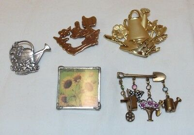 Lot of Vintage Garden Themed Brooches