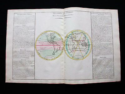 1783 DESNOS & MORNAS - World Map, Map of of the Shadow, Terrestrial Planisphere