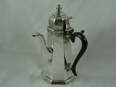 QUEEN ANN style solid silver `SIDE HANDLE` COFFEE POT, 1910, 558gm