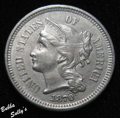 1870 III Cent Nickel <> ABOUT UNCIRCULATED