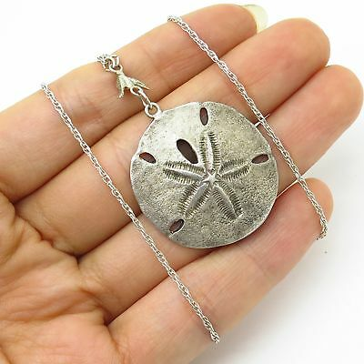 Vintage jc ferrara co jcf sterling childs sand dollar cross 925 sterling silver sand dollar pendant chain necklace 19 aloadofball Images