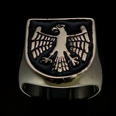 Sterling Silver Mens Medieval Knight Ring Eagle Coat Of Arms Black Any Size