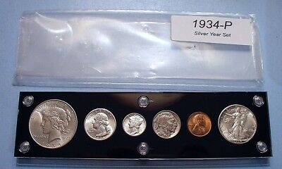 1934 U.S. 6 COIN SILVER SET w/DOLLAR VERY NEAR MINT to BRILLIANT UNCIRCULATED