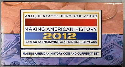 2012 Making American History Coin & Currency Set 2012-S Proof Ase & $5 Note B543