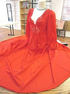 "Vintage OLGA Long Nightgown Nylon gown Red 92470 M-L Sweep 156"" Sleeves SEXY vtg"
